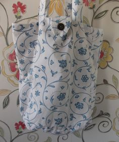 Hand Sewn Bag Made From Vintage Sheets by on Etsy Library Bag, Vintage Sheets, Cotton Sheets, Periwinkle Blue, New Bag, Vintage Cotton, Hand Sewn, Blue Flowers, Bag Making