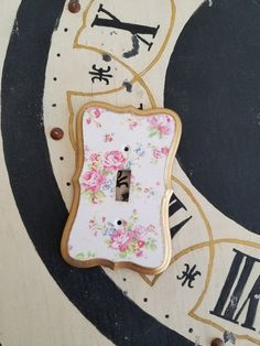 Shabby Chic Pink Roses Light Switch Cover Light Switch Plate Outlet Cover Nursery Room Decoupaged Hand painted Home Decor by TheVintageStories on Etsy