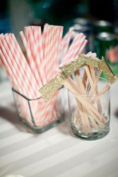 20 DIY Glitter Wedding Theme Ideas & Inspiration | Confetti Daydreams - DIY Gold Glitter Drink Flags/ Tags ♥ #Glitter #Wedding #Theme #DIY