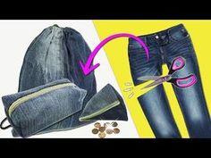 3 Ideas con un pantalón Viejo Jeans o Vaqueros (Reciclaje) Ecobrisa - YouTube