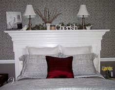 Mantel to Headboard - This is awesome, as we have a bedroom suit, Want to purchase a king size bed but I must have a headboard. They are so expensive for king size, so this might work:)