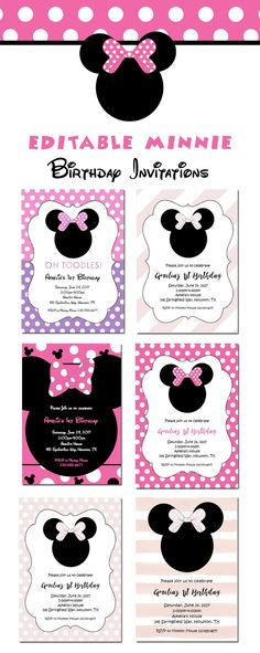 Minnie Mouse First Birthday Party Invitation – One – Red Chalkboard ...