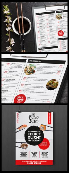 Proposed design concepts for logo Sushi Bar / Noodles / Thai Food / Menu Design /Poster Design
