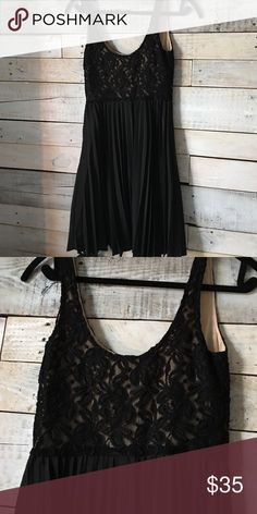 Little black dress Black dress! Dry clean only! Pleated chiffon like material on bottom, lace on top! Dry clean only bebe Dresses