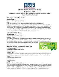IWK Mental Health Week Events #MHW Mental Health Week, Mental Health Awareness, Fundraising Events, Mental Illness, Presentation, Facts, Education, Learning, Educational Illustrations