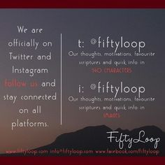 Stay connected - Twittter and Instagram invitation -  www.fiftyloop.com Photo Online, Connection, Invitations, Thoughts, Motivation, Instagram, Save The Date Invitations, Invitation, Tanks