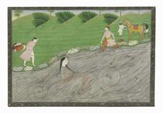 A painting of Durga in the water North India, Pahari region, Guler, late 18th century