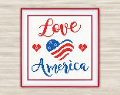 Love America Cross Stitch Pattern PDF US flag by TimeForStitch