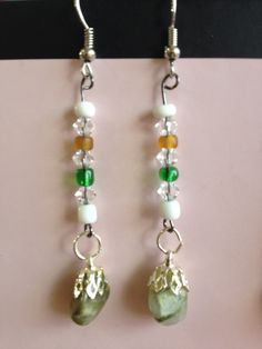 Dangle Earrings with Glass Beads and Gem Drops by aircooledclothes, $15.00