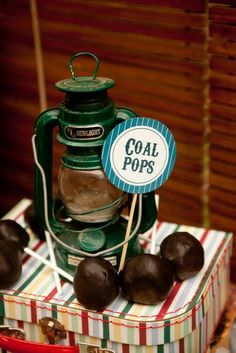 Creative coal cake pops at a Train Party. See more party ideas at CatchMyParty.com. #trainpartyideas