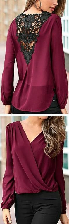 I have this top 😊 Wine Lace Back Blouse ❤︎ Beautiful color, and it looks conservative enough that you can wear a normal bra beneath. Pretty Outfits, Cute Outfits, Lace Back, Mode Style, Diy Clothes, Sewing Clothes, Womens Fashion, How To Wear, Fashion Design