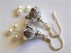 Pearls and Hill Tribe Sterling silver earrings by Pink Owl Jewelry