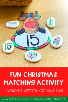 This fun hands-on teaching resource will have your kids learning about numbers, sorting, and matching all the way through the festive season. You will get the choice of two different options, to make a laminated set or a set of stones for matching activities. Shop here for it now! Christmas number matching | Christmas math activity | Preschool Christmas learning activity Holiday Activities For Kids, Math Games For Kids, Interactive Activities, Preschool Learning, Craft Activities For Kids, Early Learning, Christmas Arts And Crafts, Christmas Math, Preschool Christmas