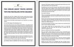 The Corliss Group Travel Review: Tips for travelling with children  Traveling with your kids to different and new places provides them with best experiences where they can grow as individuals. This could also give your children lasting memories with you that they can cherish as they get older.  The Corliss Group Online offers the following tips for your next family trip with your children.