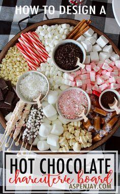 Christmas Hot Chocolate, Hot Chocolate Bars, Hot Chocolate Recipes, Chocolate Party, Chocolate Sprinkles, Chocolate Chips, White Chocolate, Charcuterie Recipes, Charcuterie And Cheese Board