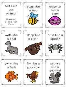 Act Like An Animal Movement Brain Break Cards Animal Activities For Kids, Fun Indoor Activities, Motor Skills Activities, Movement Activities, Gross Motor Skills, Kindergarten Activities, Toddler Activities, Preschool Activities, Music Activities