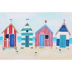 Beach Huts And Seagulls - Artistic Britain - Bringing British Art Home - Claire Henley Beach Huts Art, Beach Art, Beach Watercolor, Watercolor Artwork, Hut House, Accra, Rock Painting Designs, Happy Paintings, Beach Crafts