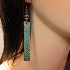 Dangle Earrings, Bohemian Jewelry, Stick Tab Earrings, Turquoise Hippie Earrings. $35.00, via Etsy.