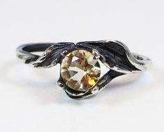 Oxidized Citrine Leaf Ring  Sterling Silver by DreamyRings on Etsy, $35.00