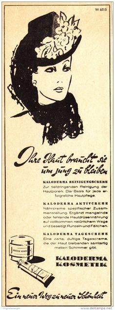 Original-Werbung/ Anzeige 1940 er Jahre - KALODERMA KOSMETIK - ca. 60 x 200 mm