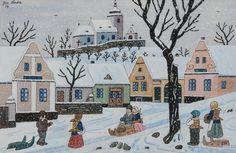 Vesnice v zimě, 1954 Winter Art, Naive Art, Vintage Advertisements, Illustrators, Colorful Backgrounds, Jigsaw Puzzles, Fairy Tales, Illustration Art, Drawings