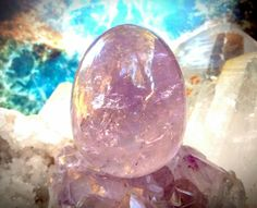 Large Amethyst Yoni Egg LA8 by TheWomanWhole on Etsy #CosmicYoniEggs #Crystals #DivineFeminine #Goddess #YoniEggs #WombHealing