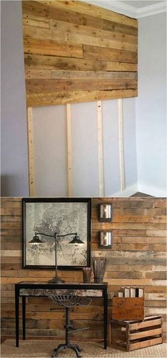 30 best DIY shiplap wall and pallet wall tutorials and beautiful ideas for every room. Plus alternative methods to get the wood wall look easily! A Piece of Rainbow ideen Shiplap Wall and Pallet Wall: 30 Beautiful DIY Wood Wall Ideas Home Remodeling Diy, Home Diy, Diy Pallet Wall, Wood Diy, Shiplap Wall Diy, Diy Shiplap, Diy Wood Wall, Diy Remodel, Diy Wall