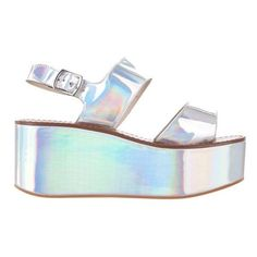 Windsor Smith Tease (340 BRL) ❤ liked on Polyvore featuring shoes, sandals, heels, silver hologram, platform wedge sandals, silver platform sandals, silver sandals, silver wedge sandals and platform heel sandals