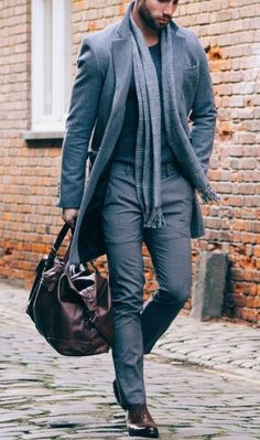 Men's Grey Overcoat, Charcoal Crew-neck Sweater, Grey Dress Pants, Dark Brown Leather Oxford Shoes | Men's Fashion