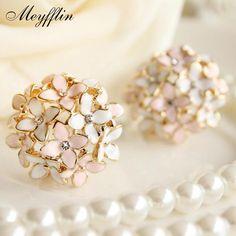 Boucle d'oreille Crystal Flower Clover Earring