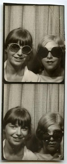 Teen friends showing off their oversized sunglasses. #vintage #photobooth #1970s