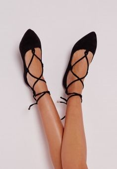 Faux Suede Lace Up Pointed Ballerina Flats Black