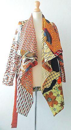 Patchwork African clothing Sosome beige mix ankara blazer coat Ankara blazer coat evening wear style drape collar coat jacket in sassa mix ankara fabric Size small/medium (fits up to 12 UK) Fully lined African Inspired Fashion, African Print Fashion, Africa Fashion, Fashion Prints, African Print Dresses, African Fashion Dresses, African Dress, African Attire, African Wear