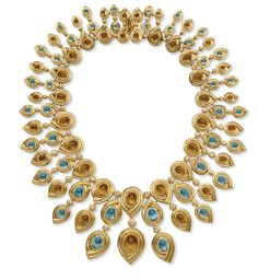 A DIAMOND, AQUAMARINE AND CITRINE NECKLACE -  Designed as a multi-tiered drop necklace, set with graduated oval cabochon citrines, each within an 18k gold crossover setting, spaced by bezel-set circular-cut diamond spacers, suspending smaller cabochon aquamarines of similar design, mounted in 18k gold.