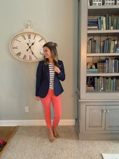 b3b298512f Perfect look for spring in a navy blazer and coral pants  justpostedblog   ShopStyle