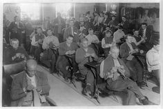 men in knitting class at Sing-Sing Prison
