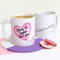 A charming mug for a brilliant Mum or Mummy with a delightful personalised balloon design.A loving gift for Mum that will make her smile during countless hot drinks to come! The heart-shaped balloon is personalised with Mum's children's names with the balloon string writing the word 'mummy' or 'mum' as it wraps round the mug. Lovingly made from a hand-painted watercolour and ink design and printed in our studio in West London.Ceramic white mug with a high quality gloss finish and dishwasher…