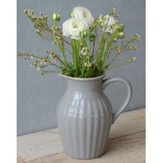 kr. 179,- 19 cm høj Ib Laursen Keramik Kande med Riller - Mynte French Grey