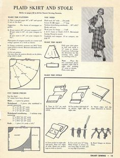 plaid half circle skirt and stole from Smart Sewing, edition, 1949 Sewing Hacks, Sewing Tutorials, Sewing Crafts, Sewing Projects, Free Sewing, Vintage Sewing Patterns, Diy Clothing, Clothing Patterns, Dress Making Patterns