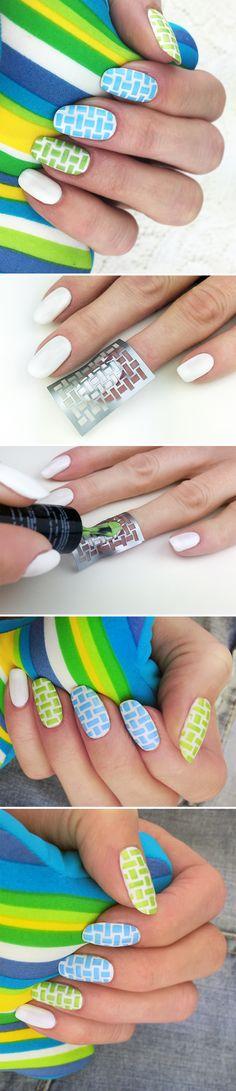 "Nail Stencils design ""Wicker Rattan"" #nails"