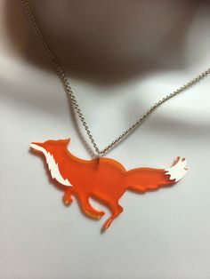LASER CUT ACRYLIC 'RUNNING FOX' NECKLACE in Jewellery & Watches, Costume Jewellery, Necklaces & Pendants   eBay