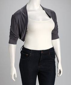Take a look at this Charcoal Jax Plus-Size Shrug by CANARI on #zulily today!