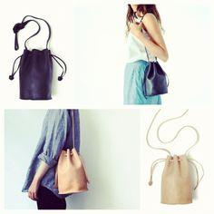 Baggu New Drawstring Bucket Bag in Natural or Black Leather