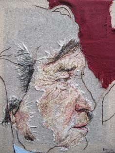 Portrait Needle Painting of Melvyn Bragg, hand stitching on cotton Emily Tull 2014 Types Of Embroidery, Embroidery Art, Embroidery Designs, Embroidery Stitches, Thread Art, Thread Painting, Textile Fiber Art, Textile Artists, Portrait Embroidery