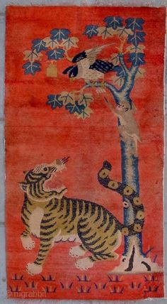 "No.R32 * Chinese Antique ""Tiger & Monkey"" Rug . Origin: Baotou-Suiyuan. Shape: Rectangle,  Age: About 100 Years Old,  Size: 78x148cm(2'7""x4'8"")  Material: 100% Wool Woven: Hand-knotted,  Background Color: Reds,   This pictorial carpet can best  ..."