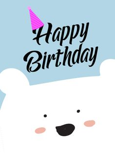 "White Cute Bear Happy Birthday Card for Kids; How much does a polar bear weigh? Enough to break the ice! Use this adorable birthday card to wish anyone in your life, whether you know them well or you just met, a happy ""bear"" today! The white bear has two spots of pink on his cheeks as he peeks up from the bottom of the card to bashfully surprise you with his message of Happy Birthday!"