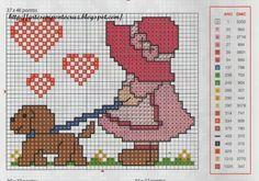 Sunbonnet n Dog cross stitch Tiny Cross Stitch, Cross Stitch For Kids, Cross Stitch Cards, Cross Stitching, Cross Stitch Embroidery, Cross Stitch Patterns, Everything Cross Stitch, Stitch Doll, Baby Kind