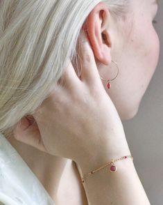 Ruby charm bracelet and hoop earrings ❤️ Pearl Gemstone, Delicate Jewelry, Handcrafted Jewelry, Jewelry Design, Hoop Earrings, Gemstones, Pearls, Sterling Silver, Bracelets