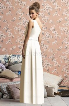Wedding-Simple Floor Length Ruffles Sheath Zipper Sleeveless Bridesmaid Dress - US$108.99 - ninedresses.com