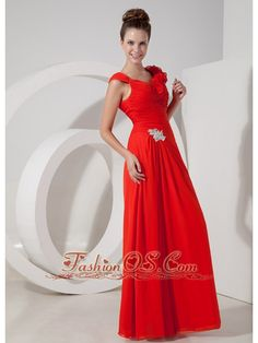 Luxurious Red Empire V-neck Floor-length Chiffon Appliques Evening Dress- $119.12